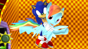 Sonic Riding Rainbow Dash (Redo) by NightB1ader