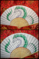 Haku the Dragon - handpainted Paperfan by Ganjamira