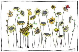 Giraffe and the sunflowers by asiaq