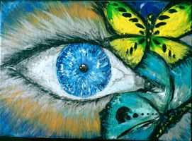 Butterflies  on eye by IwFellouka