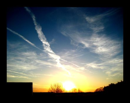 Cold Contrail Contrast by FramedByNature
