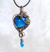 Steampunk Blue heart pendant by IanirasArtifacts