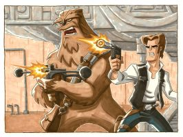 Han and Chewie by OtisFrampton