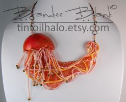 Orange and Pink Jellyfish Necklace by TinfoilHalo