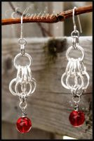 Silver Chainmaille Earrings with Bead by Aeltari
