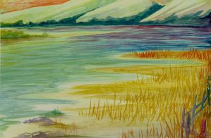 Watercolor Fun- Lake Landscape by hewgeballs