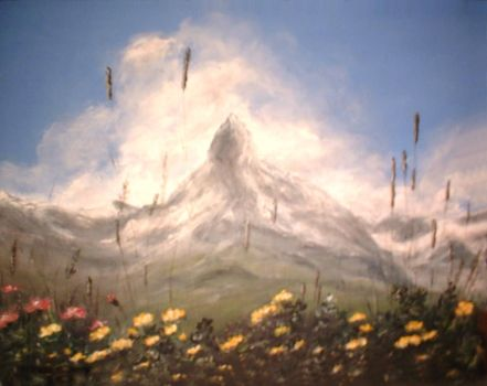 swiss mountain paiting by ingrid