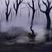 Shadow forest and cat. by Arjello