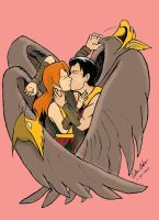 Hawkman and Hawkgirl Kiss Epicly by WibbitGuy