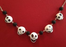 Spooky Scary Skeletons Necklace by Gatobob