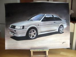 Toyota Corolla GT on a stand by Artbyantero