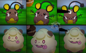 Cuteness Overload - Shiny Dedenne and Swirlix by Sapphiresenthiss