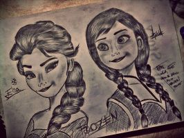 Elsa and Anna From Frozen The Movie Disney by pejtarecek