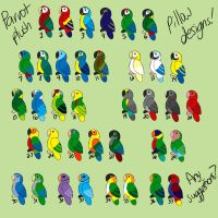 Parrot Plush Pillow Designs Batch 1 by CavySpirit