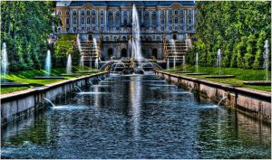The Fountains of Peterhof,HDR by Slidragon
