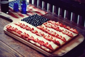 strawberry blueberry usa flag cream cake by tracylopez