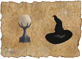 Halloween Crystal ball and Witch hat by LuxXeon by Tiffli