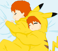 Kataro and Kaito- Sleeping Pikachu's by xDerin-Chan