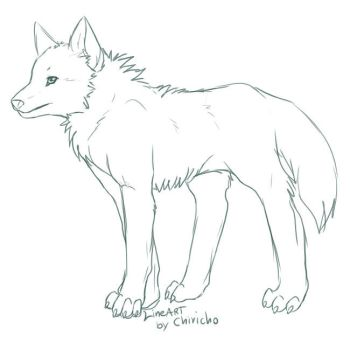 Wolf lineart by TeaDino
