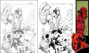 Hellboy::Pencils, Inks + more by Red-J