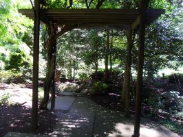 Wooden Overhang Walkway by TornPageDyedRed