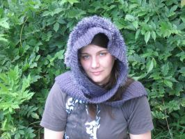 Fuzzy Gray hood hat by SunFireDemon