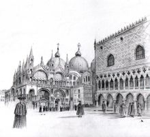 St Marks Venice drawing by dashinvaine