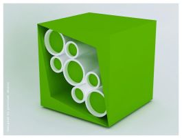 Stool  A- Green and white by creativegenie