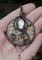 Steampunk cameo watch pendant by ukapala