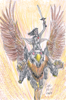 Cyborg Griffin Riders from Mars 2 by Velociraptor-King