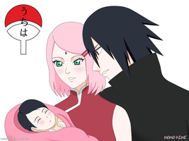 Sakura and Sasuke with baby Sarada by m0m0-hImE