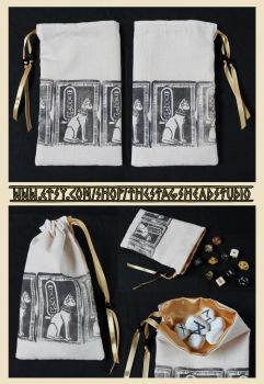Hand Printed Bastet Pouch: Tarot Bag, Dice Bag by ImogenSmid