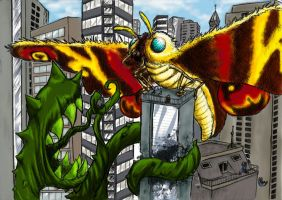 Mothra VS Mutant Plant in Tokyo ~ Colorized by zokwani
