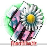 Tattoo design with white daisy and face by etattoos