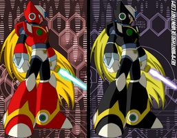 Megaman X - Zero's Normal and Black Armor by Remmirath90