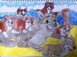 Balto and his pups by Alyssaeve