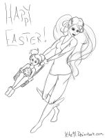 Buneary and Lopunny say happy Easter! free lineart by Xite91
