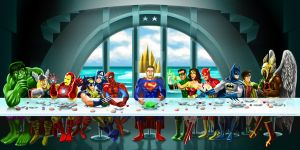 Superhero Last Supper by luismhernandez