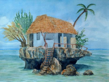 Hut on the shore by Cancer--chan