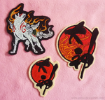 Embroidered Okami patches by goiku