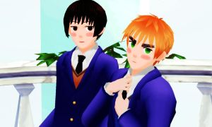 MMD Japan and England Gakuen by Aisuchuu