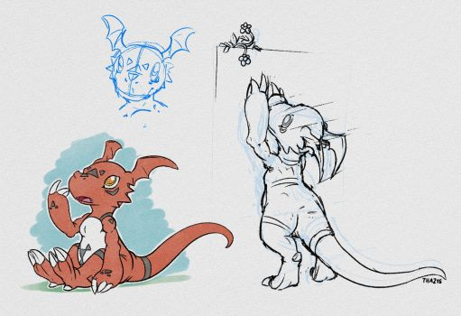 Guilmon Sketches by thazumi