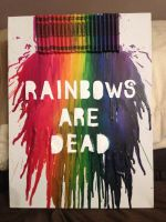 'Rainbows are dead' typographical wax painting by MJWdesign