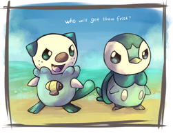 Piplup and Oshawott by windy-lie