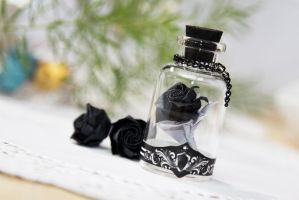 Black Edition- Origami rose in a bottle, 110 Folds by kingsflowers