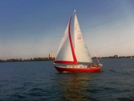 Red Sailboat by HeathVideo