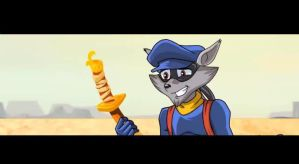 sly cooper with a sword in the desrt by FCC93