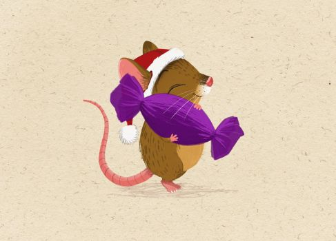 Matchstick Mouse - Purple Sweets by morganobrienart