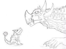 Bash meets Anguirus by Almaster09