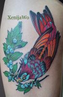 Tattoo purple bird by Xenija88